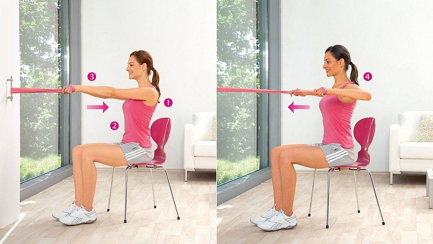Übung zur Kräftigung der oberen Rücken- und hinteren Schultermuskulatur - Übung zur Kräftigung der oberen Rücken- und hinteren Schultermuskulatur