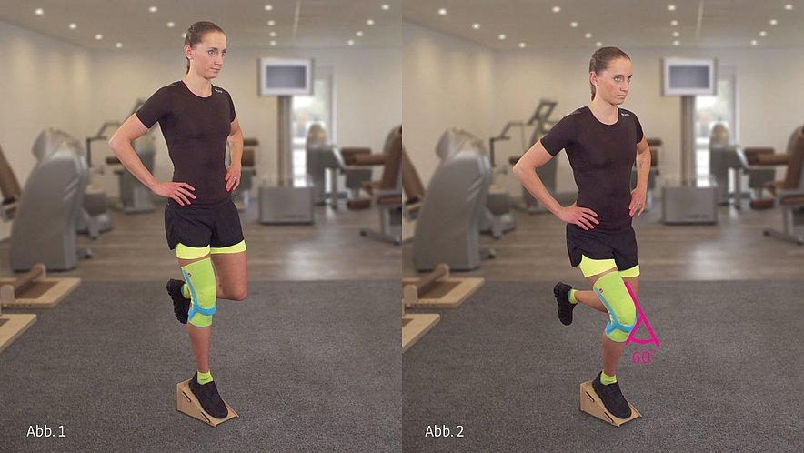 Physiotherapy exercise single-leg knee bend with decline board - Physiotherapy exercise single-leg knee bend with decline board