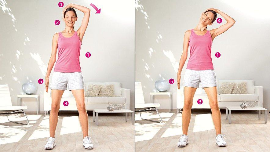 Übung zur Dehnung der seitlichen Halsmuskulatur - Übung zur Dehnung der seitlichen Halsmuskulatur