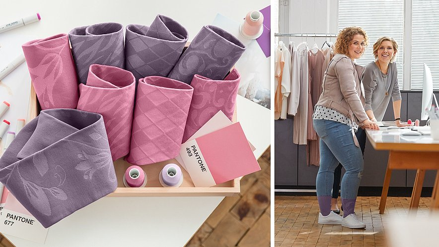 Flat knit in lilac and pale pink – according to Pantone, the new pastel colours are the trend for 2018.