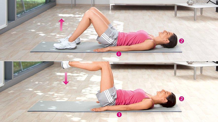Übung zur Kräftigung der unteren Bauchmuskulatur und der Hüftbeuger - Übung zur Kräftigung der unteren Bauchmuskulatur und der Hüftbeuger