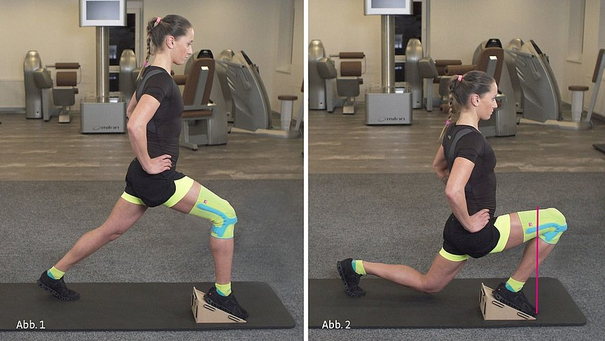 Physiotherapy exercise lunge with decline board - Physiotherapy exercise lunge with decline board