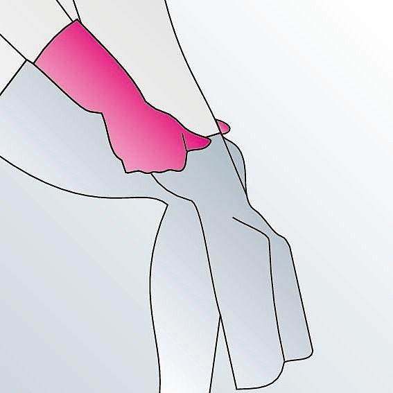 Kompressionsstrümpfe anziehen Anleitung Schritt 5 -