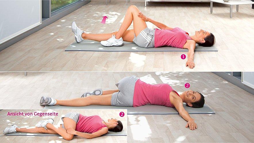 Übung zur Dehnung der unteren und seitlichen Rücken- sowie der Gesäßmuskulatur - Übung zur Dehnung der unteren und seitlichen Rücken- sowie der Gesäßmuskulatur