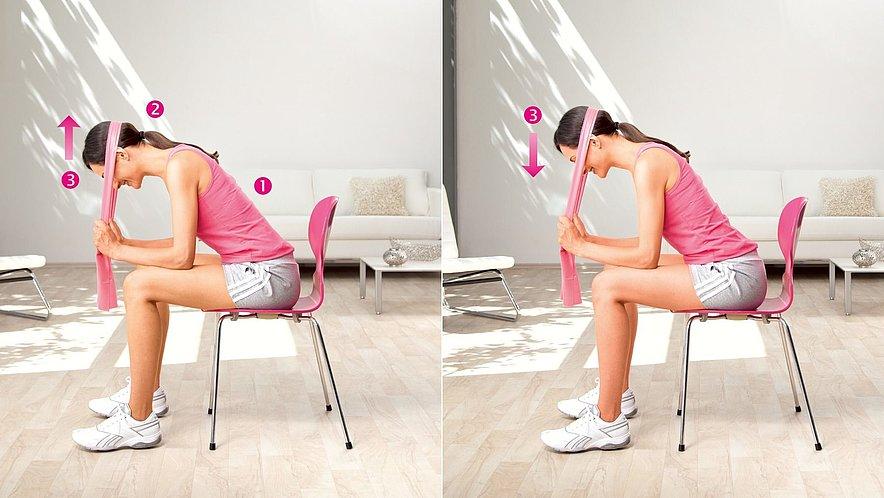 Physioübung Kopfnicken zur Kräftigung der Nackenmuskeln - Physioübung Kopfnicken zur Kräftigung der Nackenmuskeln