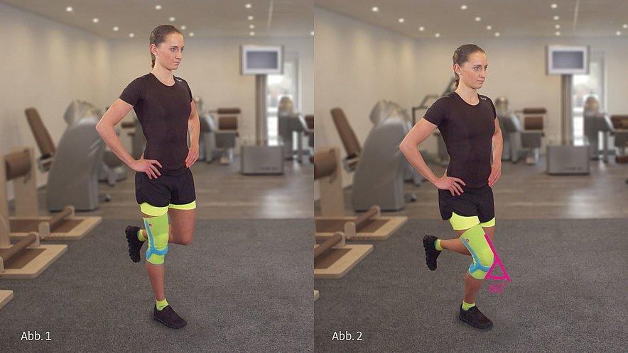 Physioübung Kniebeugen mit einem Bein