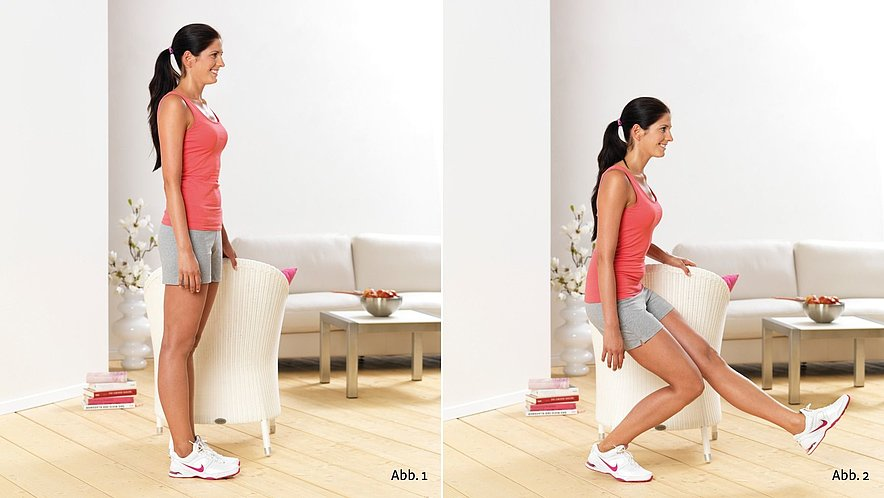 Physioübung Einbein-Kniebeugen - Physioübung Einbein-Kniebeugen
