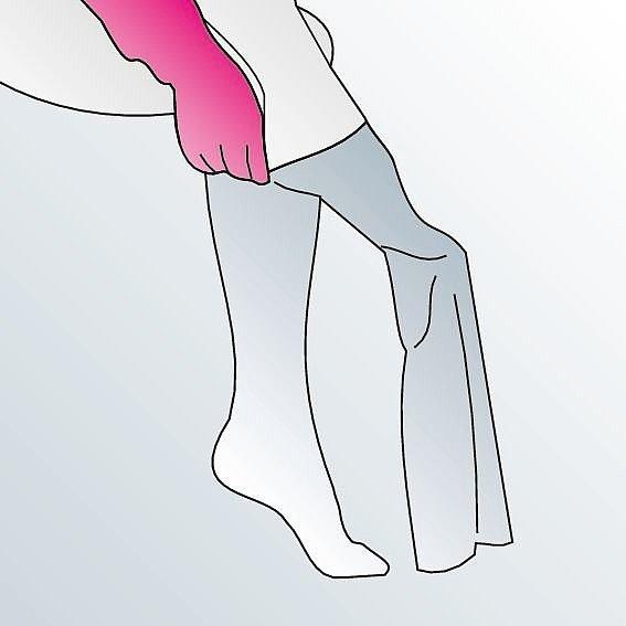 Kompressionsstrümpfe anziehen Anleitung Schritt 2 -