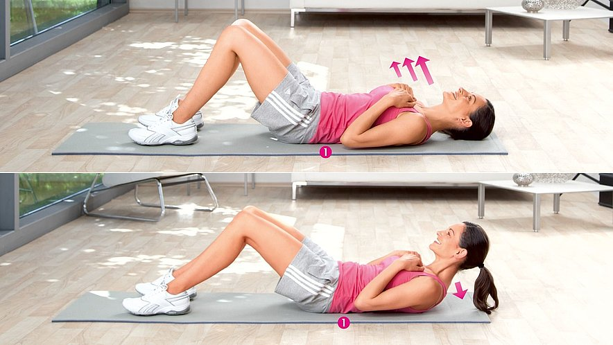 Übung zur Kräftigung der oberen Bauchmuskulatur - Übung zur Kräftigung der oberen Bauchmuskulatur