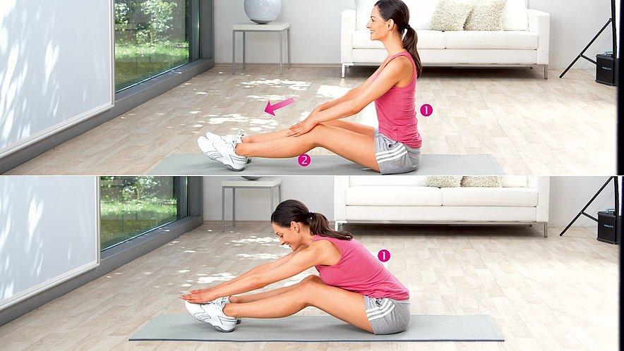 Übung zur Dehnung  der unteren Rückenmuskulatur - Übung zur Dehnung  der unteren Rückenmuskulatur