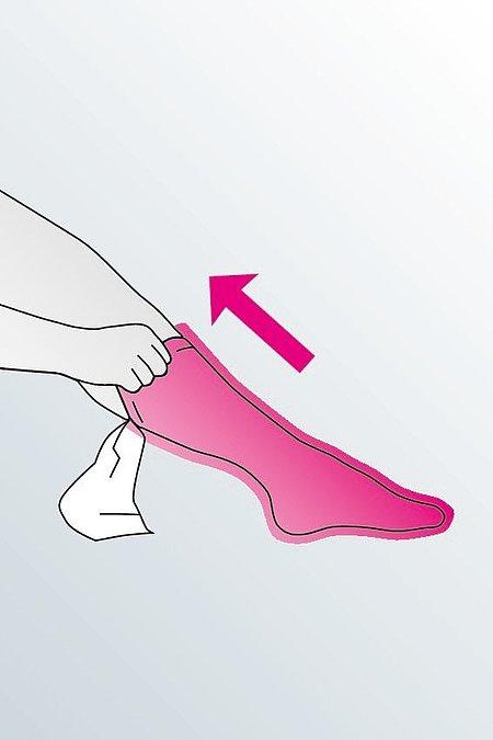 Kompressionsstrümpfe anziehen - Schritt 5