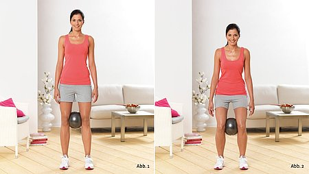 Knee bending exercises with a ball - Knee bending exercises with a ball