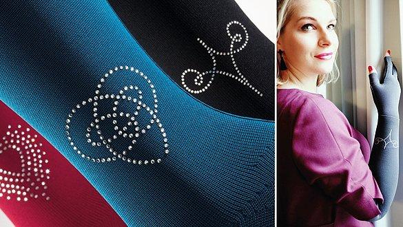 Swarovski crystals on stockings and arm sleeves