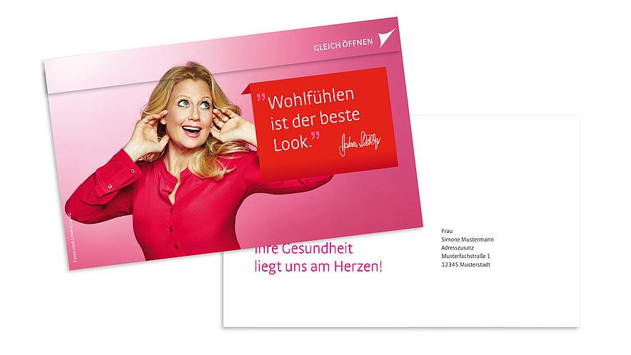 Kundenbindung mit Barbara Schöneberger: Der Fachhandel informiert seine Kunden mit der medi Mailingvorlage über die Dauer der medizinischen Wirksamkeit von Kompressionsstrümpfen.